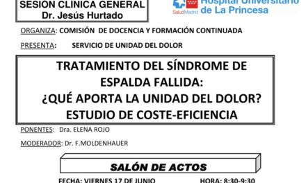 Sesión Clínica 17 de Junio – Tratamiento del síndrome de espalda fallida