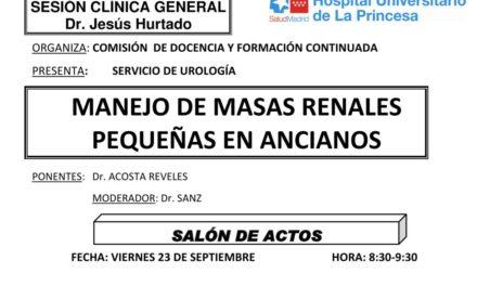 Sesión Clínica 23 de Septiembre – Servicio de Urología: Manejo de masas renales pequeñas en ancianos