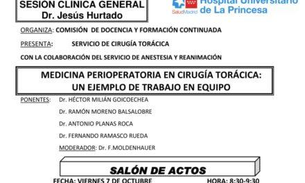Sesión Clínica 7 de Octubre – Medicina perioperatoria en cirugía torácica: un ejemplo de trabajo en equipo