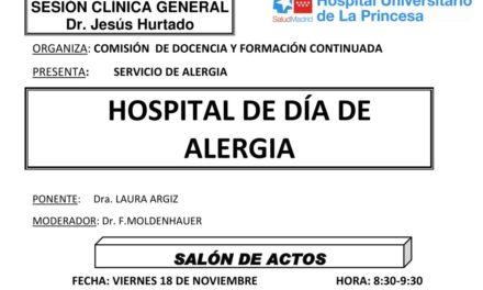 Sesión Clínica 18 de Noviembre – Hospital de día de alergia
