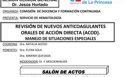 Sesión Clínica 20 de Abril – Revisión de nuevos anticoagulantes orales de acción directa (ACOD)