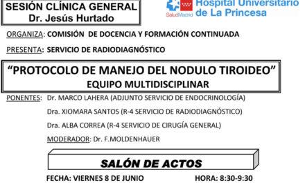 Sesión Clínica 8 de Junio – Protocolo de manejo del nodulo tiroideo