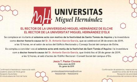 Investidura Doctor Honoris Causa – Profesor Antonio García García