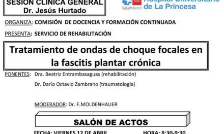 Sesión Clínica 12 de Abril – Tratamiento de ondas de choque focales en la fascitis plantar crónica