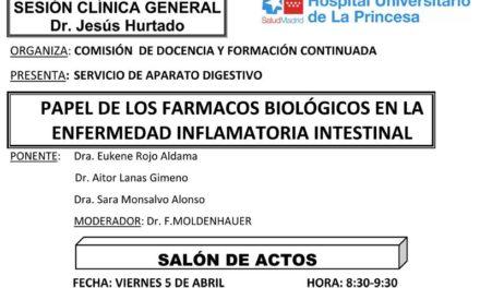 Sesión Clínica 05 de Abril – Papel de los fármacos biológicos en la enfermedad inflamatoria intestinal