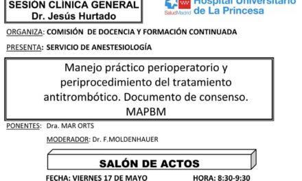 Sesión Clínica 17 de Mayo – Manejo práctico perioperatorio … Documento de consenso MAPBM