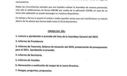 Convocatoria Asamblea General Ordinaria de Ahupa 2020
