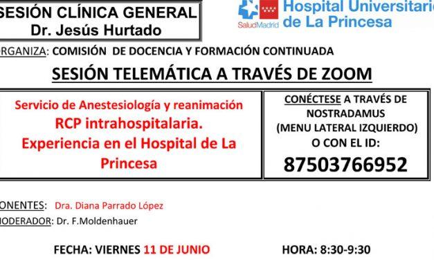 Sesión Clínica 11 de junio – Servicio de Anestesiología y reanimación RCP intrahospitalaria