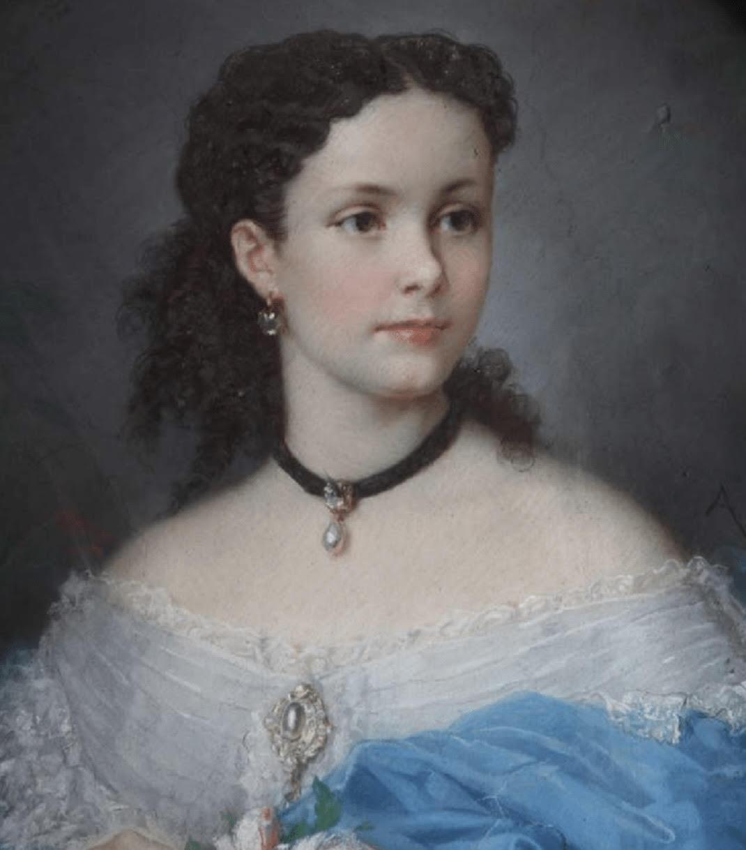 INFANTA ISABEL DETALLE DEL CUADRO DE ALPHONSE MURATON 1865 EN REALES ALCAZARES DE SEVILLA PATRIMONIO NACIONAL